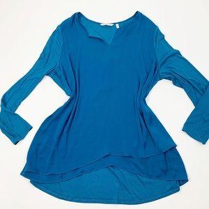 Soft Surroundings Blue Long Sleeve Woven Blouse